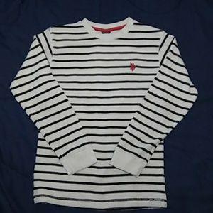 Polo white/black striped long sleeve shirt